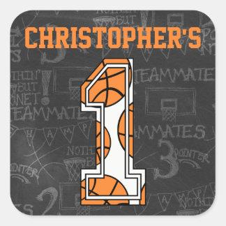 Basketball Chalkboard 1st Birthday Square Sticker