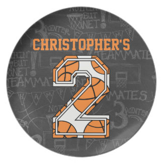 Basketball Chalkboard 2nd Birthday Melamine Plate