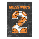 Basketball Chalkboard 2nd Birthday Party Invite