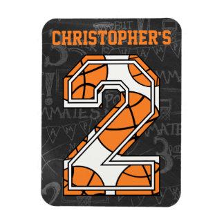 Basketball Chalkboard 2nd Birthday Rectangular Photo Magnet