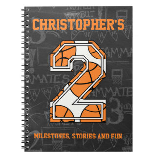 Basketball Chalkboard 2nd Birthday Spiral Notebook