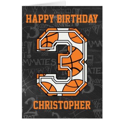 Basketball Chalkboard 3rd Birthday Greeting Card
