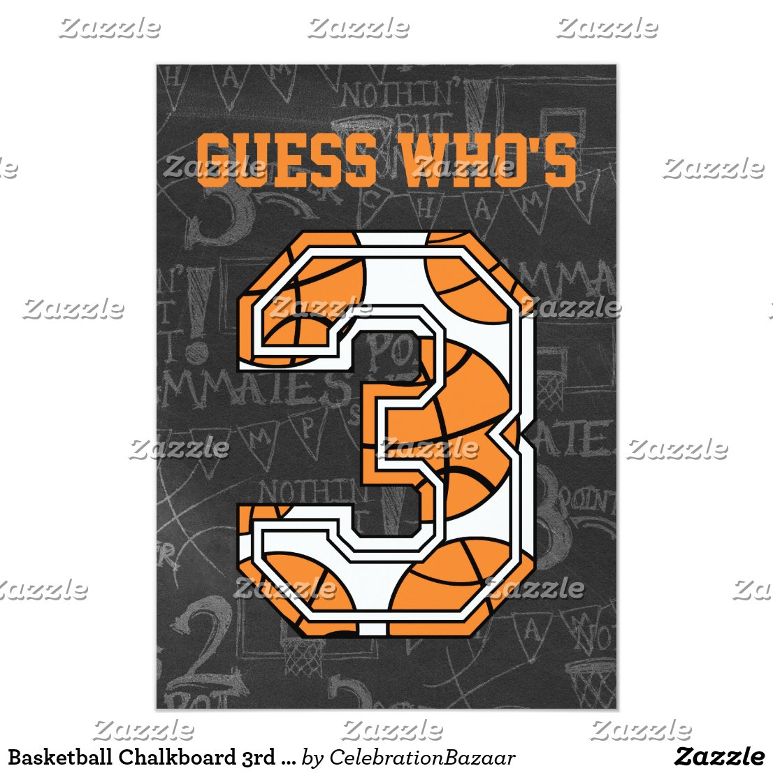 Basketball Chalkboard 3rd Birthday Party Card