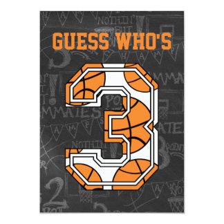 Basketball Chalkboard 3rd Birthday Party 5x7 Paper Invitation Card