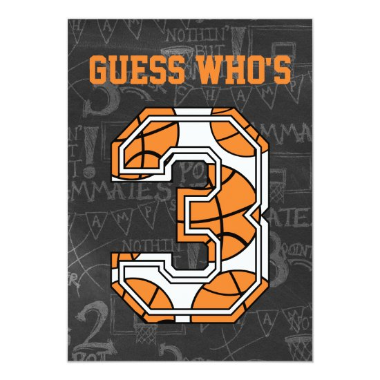 Basketball Chalkboard 3rd Birthday Party Invitation