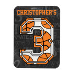 Basketball Chalkboard 3rd Birthday Vinyl Magnets