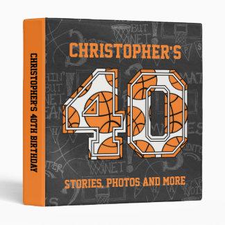 Basketball Chalkboard 40th Birthday Vinyl Binders