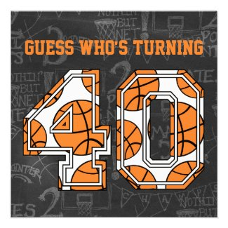 Basketball Chalkboard 40th Birthday Party Invite