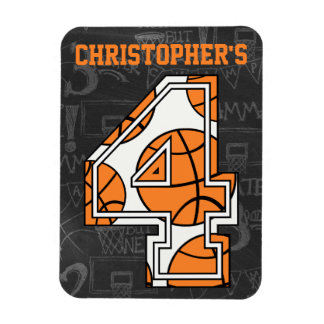 Basketball Chalkboard 4th Birthday Rectangle Magnets