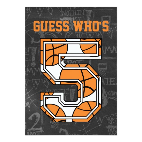 Basketball Chalkboard 5th Birthday Party Invitation