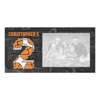 Basketball Chalkboard Photo 2nd Birthday Card