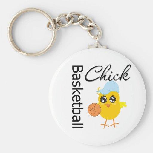 Basketball Chick Basic Round Button Keychain