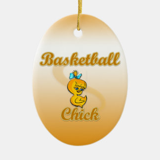 Basketball Chick Double-Sided Oval Ceramic Christmas Ornament