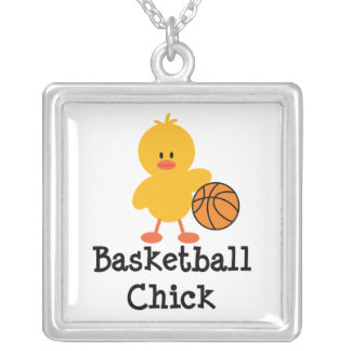 Basketball Chick Sterling Silver Necklace