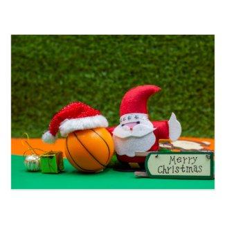 Basketball Christmas card with Santa Claus