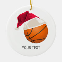 basketball christmas ceramic ornament