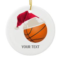 basketball christmas ceramic ornament