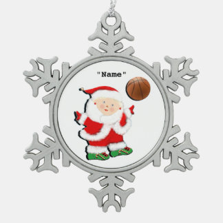 Basketball Christmas Collectible Snowflake Pewter Christmas Ornament