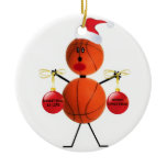 Basketball Christmas Double-Sided Ceramic Round Christmas Ornament