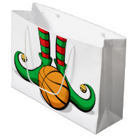 Basketball Christmas Elf Feet Large Gift Bag
