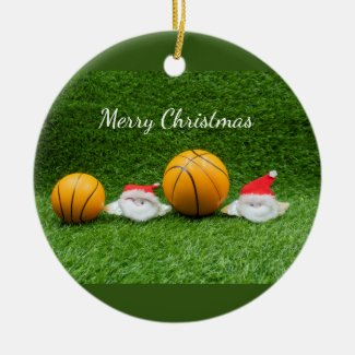 Basketball Christmas gift bag with Santa on green Ceramic Ornament