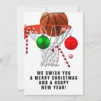 basketball Christmas greeting cards