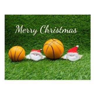 Basketball Christmas Holiday card with Santa Claus