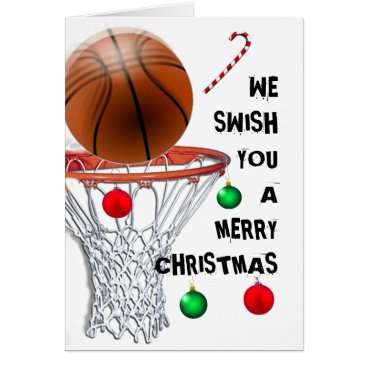 Beach Themed Basketball Christmas Holiday Cards