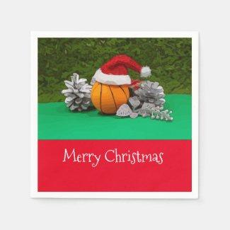 Basketball Christmas Holiday with Santa Claus hat Napkins