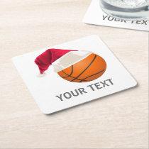 basketball christmas square paper coaster
