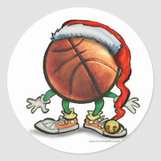Basketball Christmas Round Stickers