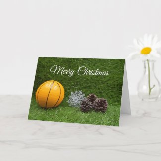 Basketball Christmas with pine cones on grass Card