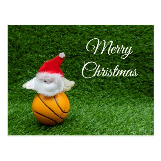 Basketball Christmas with Santa Claus on green Postcard