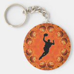BASKETBALL CIRCLE AND PLAYER BASIC ROUND BUTTON KEYCHAIN