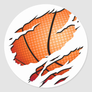 basketball classic round sticker