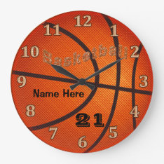 Basketball Clocks With Name And Jersey Number at Zazzle