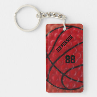 Basketball Close-up custom Name and number Keychain