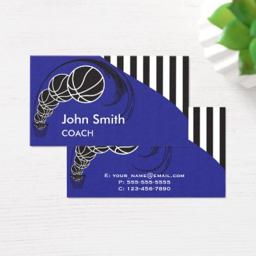 Professional Business Basketball Coach - Blue Business Card