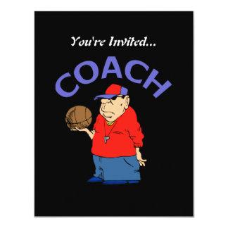 Basketball Coach Cartoon 4.25x5.5 Paper Invitation Card
