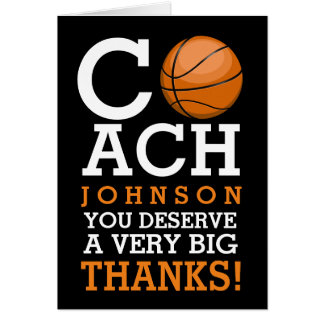 Basketball Coach Custom Bold Thank You Card