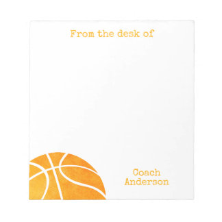 Basketball Coach From the Desk of Personalized Notepad