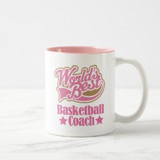 Basketball Coach Gift Girls (Worlds Best) Two-Tone Coffee Mug