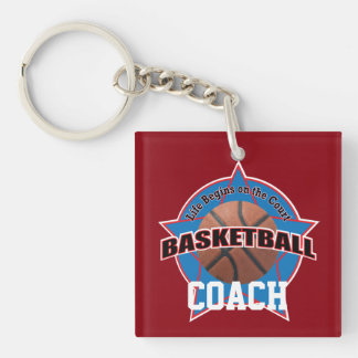 Basketball Coach Life Begins Double-Sided Square Acrylic Keychain