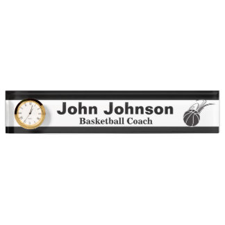 Basketball Coach Name Plate with Clock