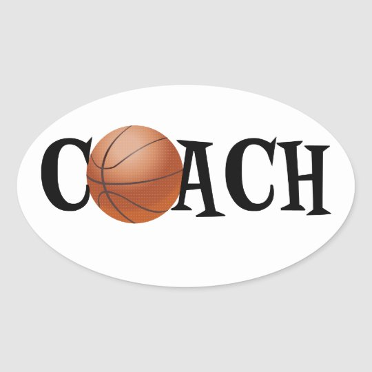 Basketball Coach Oval Sticker