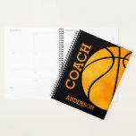 "Basketball Coach Personalized Orange and Black Planner<br><div class=""desc"">Basketball Coach Personalized Orange and Black Planner. Coach written vertically,  personalized with name in orange. Huge basketball design on front and back with black background. www.SamAnnDesigns.com</div>"
