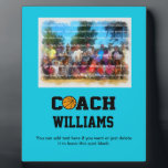 """Basketball Coach - Personalized Plaque<br><div class=""""desc"""">Great looking gift for any basketball coach. The word &quot;COACH&quot; is in easy-to-read collegiate style font with the &quot;O&quot; replaced with a basketball. All you have to do is personalize with name and (change up the background color, if you want) and you have one PERFECT gift that any basketball coach...</div>"""
