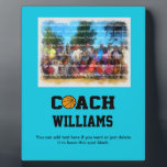 "Basketball Coach - Personalized Plaque<br><div class=""desc"">Great looking gift for any basketball coach. The word &quot;COACH&quot; is in easy-to-read collegiate style font with the &quot;O&quot; replaced with a basketball. All you have to do is personalize with name and (change up the background color, if you want) and you have one PERFECT gift that any basketball coach...</div>"