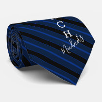 Basketball Coach Signature Name Navy Striped Neck Tie