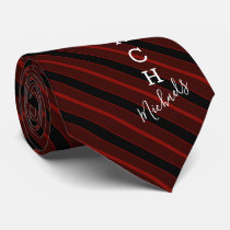 Basketball Coach Signature Name Red Striped Tie